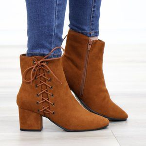 Brown Faux Suede Ankle Booties Side Laced Up